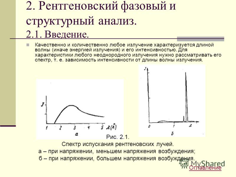 2. Рентгеновский фазовый и структурный анализ. 2.1. Введение. Качественно и количественно любое излучение характеризуется длиной волны (иначе энергией излучения) и его интенсивностью. Для характеристики любого неоднородного излучения нужно рассматрив