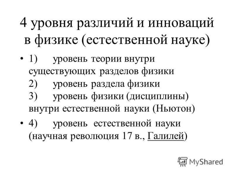 4 уровня различий и инноваций в физике (естественной науке) 1) уровень теории внутри существующих разделов физики 2) уровень раздела физики 3) уровень физики (дисциплины) внутри естественной науки (Ньютон) 4) уровень естественной науки (научная револ