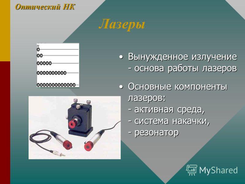 Лазеры Вынужденное излучение - основа работы лазеров Основные компоненты лазеров: - активная среда, - система накачки, - резонатор Оптический НК