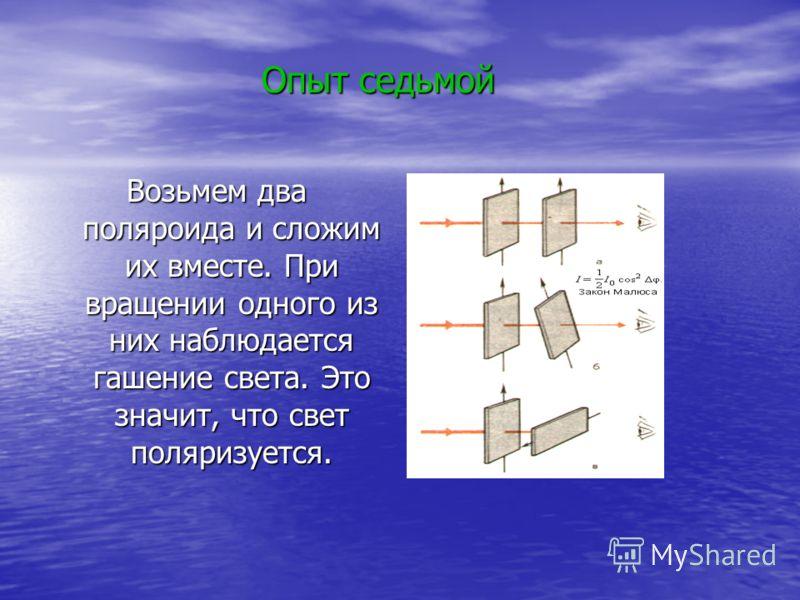 Возьмем два поляроида и сложим их вместе. При вращении одного из них наблюдается гашение света. Это значит, что свет поляризуется. Опыт седьмой
