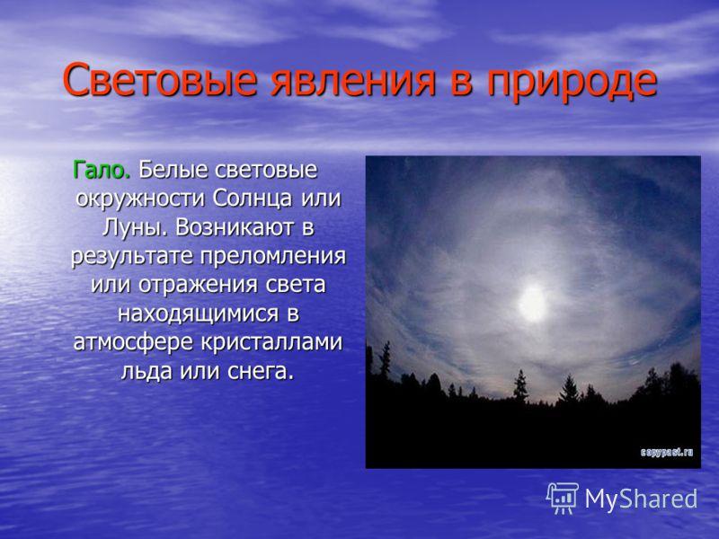 Световые явления в природе Гало. Белые световые окружности Солнца или Луны. Возникают в результате преломления или отражения света находящимися в атмосфере кристаллами льда или снега.