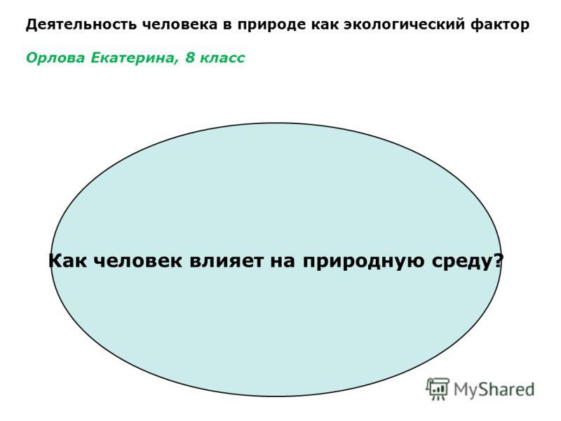 Деятельность человека в природе как экологический фактор Орлова Екатерина, 8 класс Как человек влияет на природную среду?