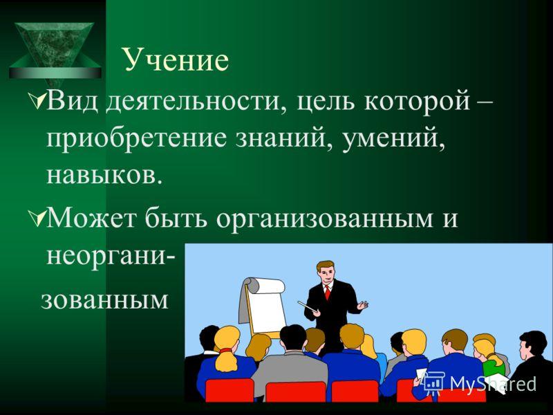 Учение Вид деятельности, цель которой – приобретение знаний, умений, навыков. Может быть организованным и неоргани- зованным