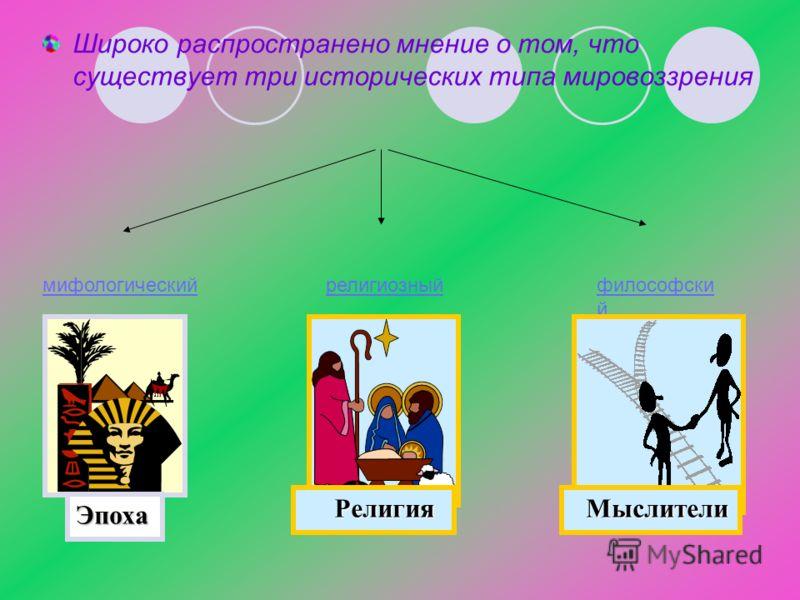 Широко распространено мнение о том, что существует три исторических типа мировоззрения мифологическийрелигиозныйфилософски й Эпоха Религия Религия Мыслители Мыслители
