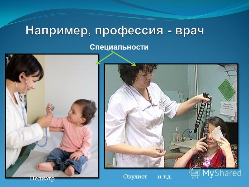 Специальности Педиатр Окулист и т.д.