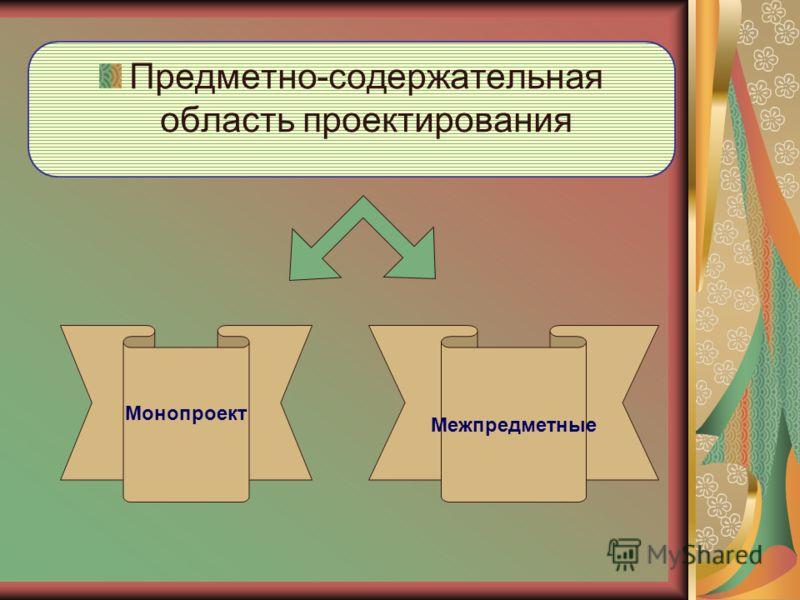 Предметно-содержательная область проектирования Монопроект Межпредметные