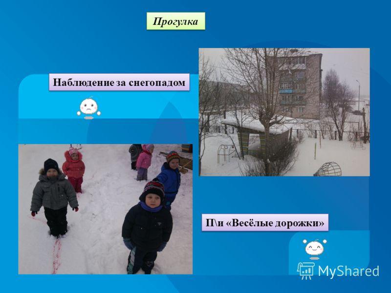 Прогулка П\и «Весёлые дорожки» Наблюдение за снегопадом