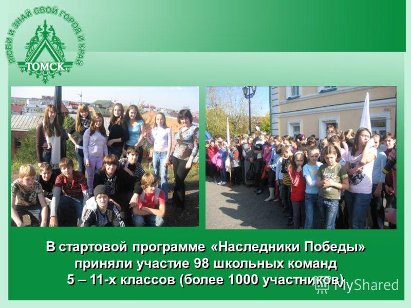 В стартовой программе «Наследники Победы» приняли участие 98 школьных команд 5 – 11-х классов (более 1000 участников)