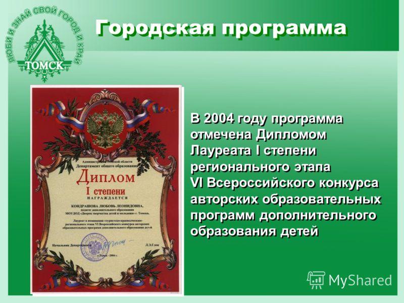 Городская программа В 2004 году программа отмечена Дипломом Лауреата I степени регионального этапа VI Всероссийского конкурса авторских образовательных программ дополнительного образования детей