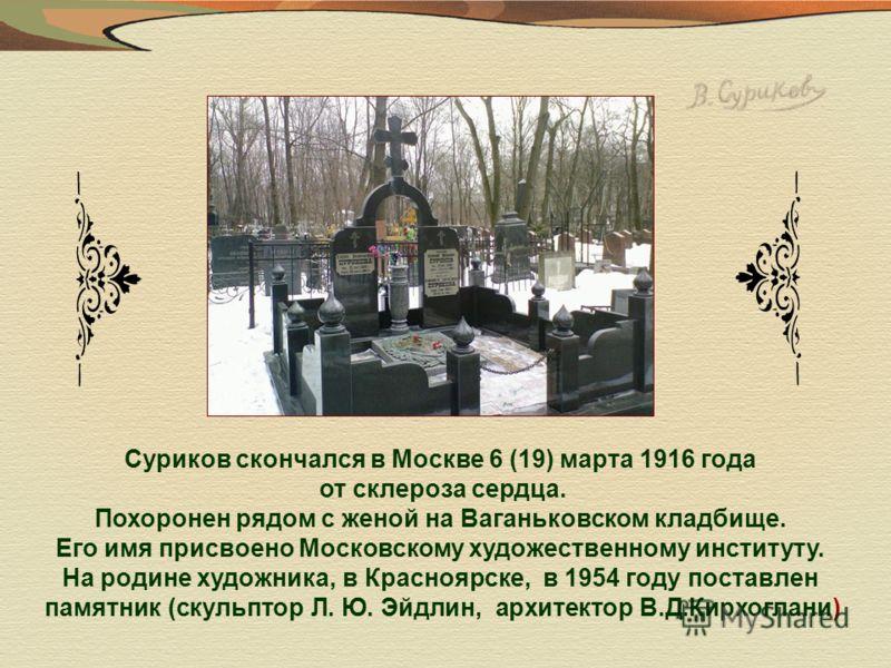 Суриков скончался в Москве 6 (19) марта 1916 года от склероза сердца. Похоронен рядом с женой на Ваганьковском кладбище. Его имя присвоено Московскому художественному институту. На родине художника, в Красноярске, в 1954 году поставлен памятник (скул