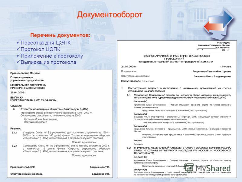 Документооборот Перечень документов: Повестка дня ЦЭПК Протокол ЦЭПК Приложение к протоколу Выписка из протокола