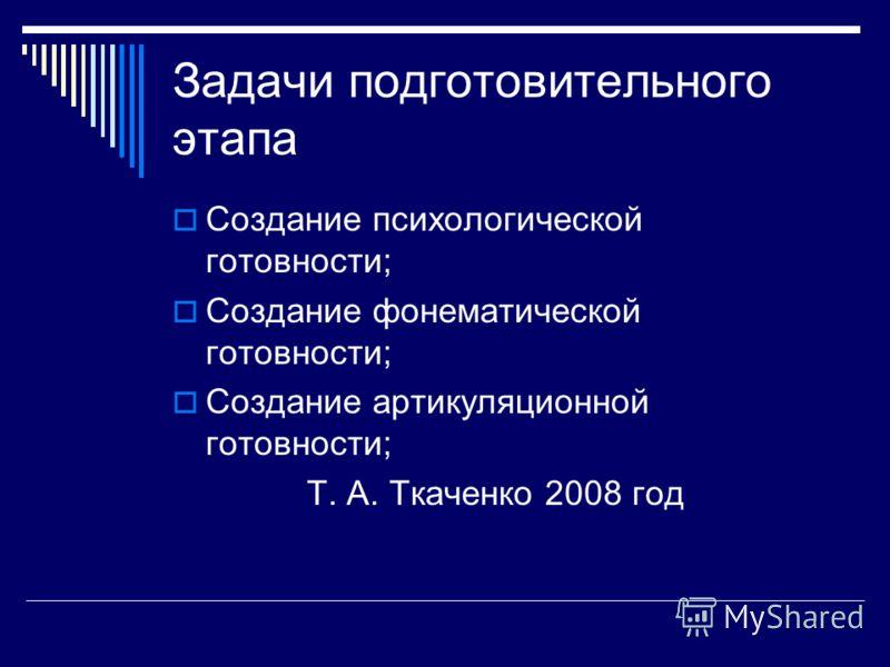 Задачи подготовительного этапа Создание психологической готовности; Создание фонематической готовности; Создание артикуляционной готовности; Т. А. Ткаченко 2008 год