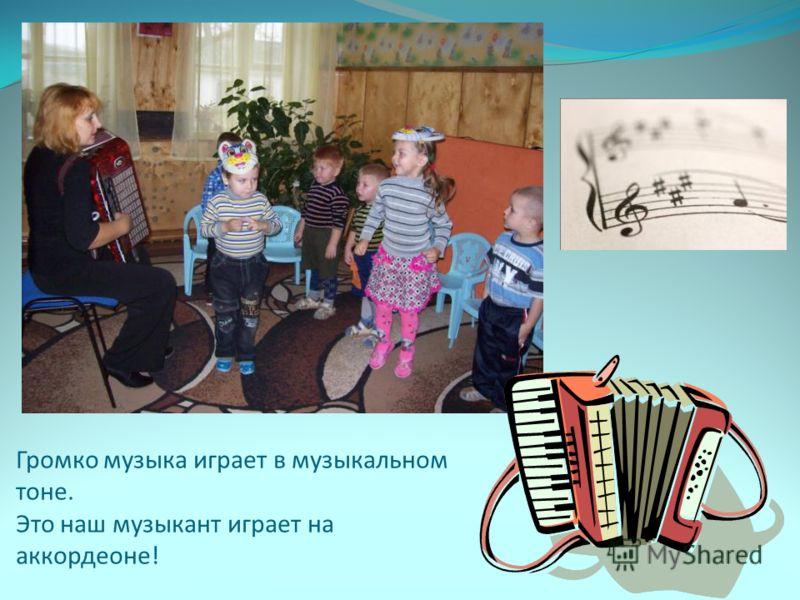 Громко музыка играет в музыкальном тоне. Это наш музыкант играет на аккордеоне!