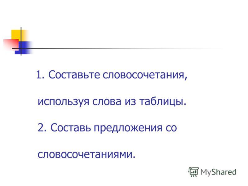 1. Составьте словосочетания, используя слова из таблицы. 2. Составь предложения со словосочетаниями.