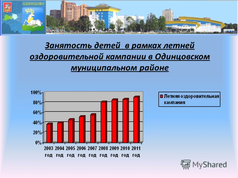 Занятость детей в рамках летней оздоровительной кампании в Одинцовском муниципальном районе