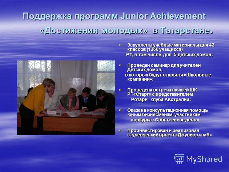 Поддержка программ Junior Achievement «Достижения молодых» в Татарстане. Закуплены учебные материалы для 42 классов (1260 учащихся) Закуплены учебные материалы для 42 классов (1260 учащихся) РТ, в том числе для 5 детских домов; РТ, в том числе для 5