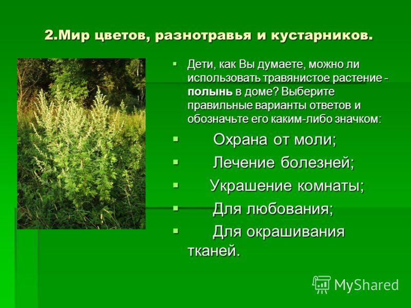 2.Мир цветов, разнотравья и кустарников. Дети, как Вы думаете, можно ли использовать травянистое растение - полынь в доме? Выберите правильные варианты ответов и обозначьте его каким-либо значком: Дети, как Вы думаете, можно ли использовать травянист