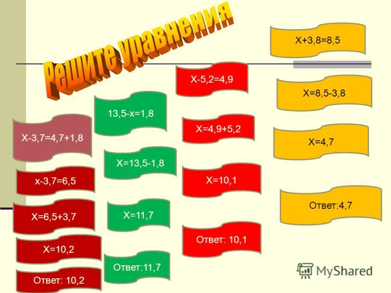 Х+3,8=8,5 13,5-х=1,8 Х-5,2=4,9 Х-3,7=4,7+1,8 Х=8,5-3,8 Х=4,7 Ответ:4,7 Х=4,9+5,2 Х=10,1 Ответ: 10,1 Х=13,5-1,8 Х=11,7 Ответ:11,7 х-3,7=6,5 Х=6,5+3,7 Х=10,2 Ответ: 10,2