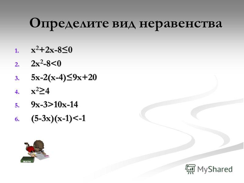 Определите вид неравенства Определите вид неравенства 1. x 2 +2x-80 2. 2x 2 -810x-14 6. (5-3х)(х-1)