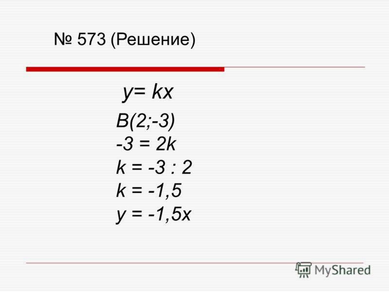 573 (Решение) y= kx B(2;-3) -3 = 2k k = -3 : 2 k = -1,5 y = -1,5x