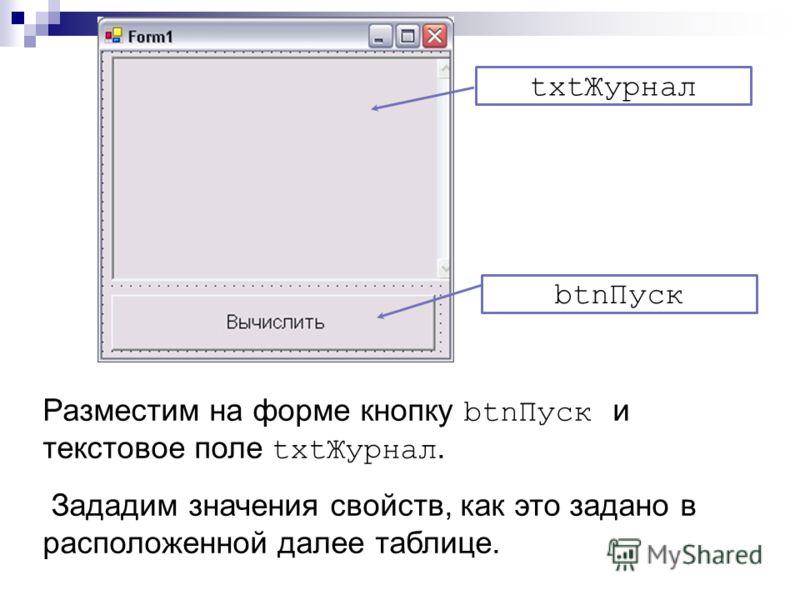 Разместим на форме кнопку btnПуск и текстовое поле txtЖурнал. Зададим значения свойств, как это задано в расположенной далее таблице. txtЖурнал btnПуск