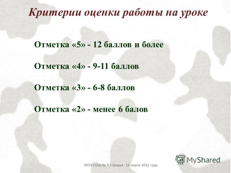Отметка «5» - 12 баллов и более Отметка «4» - 9-11 баллов Отметка «3» - 6-8 баллов Отметка «2» - менее 6 балов МОУ СОШ 7 г.Шарья 15 марта 2012 года Критерии оценки работы на уроке