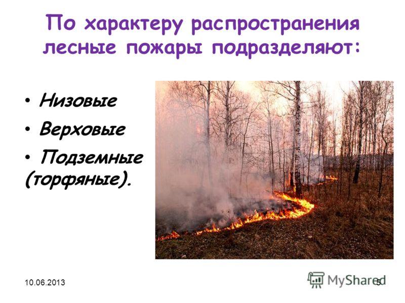 По характеру распространения лесные пожары подразделяют: Низовые Верховые Подземные (торфяные). 10.06.20135