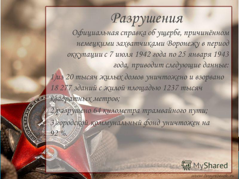 Официальная справка об ущербе, причинённом немецкими захватчиками Воронежу в период оккупации с 7 июля 1942 года по 25 января 1943 года, приводит следующие данные: 1)из 20 тысяч жилых домов уничтожено и взорвано 18 277 зданий с жилой площадью 1237 ты