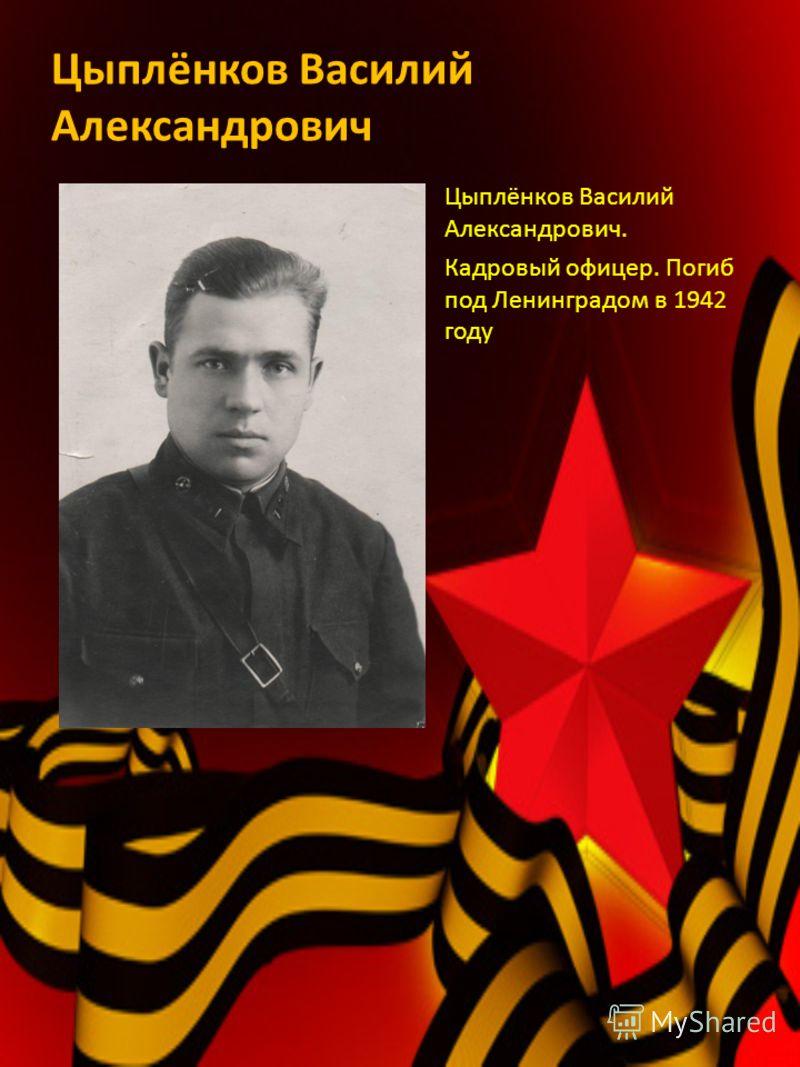 Цыплёнков Василий Александрович Цыплёнков Василий Александрович. Кадровый офицер. Погиб под Ленинградом в 1942 году