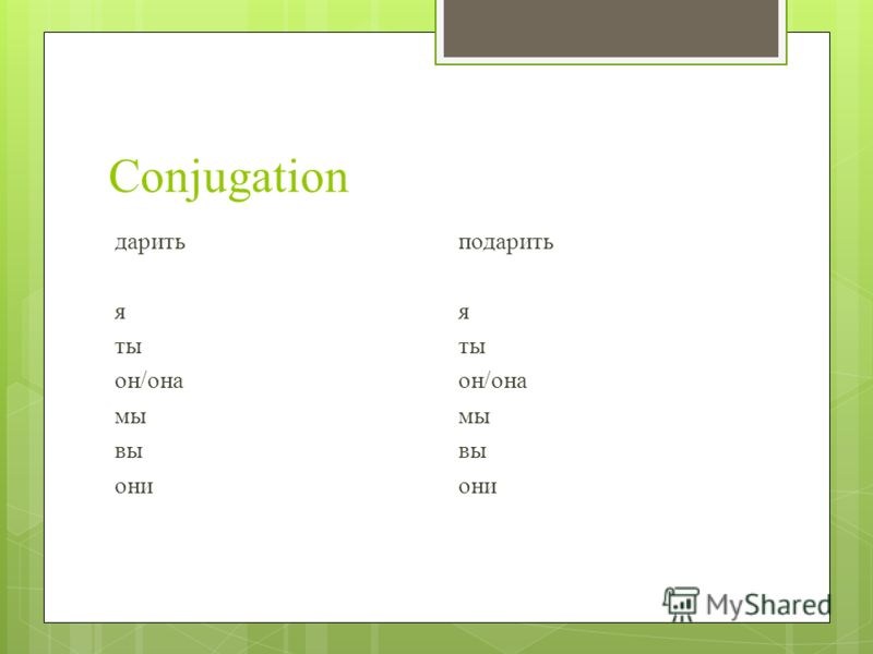 Conjugation дарить я ты он/она мы вы они подарить я ты он/она мы вы они