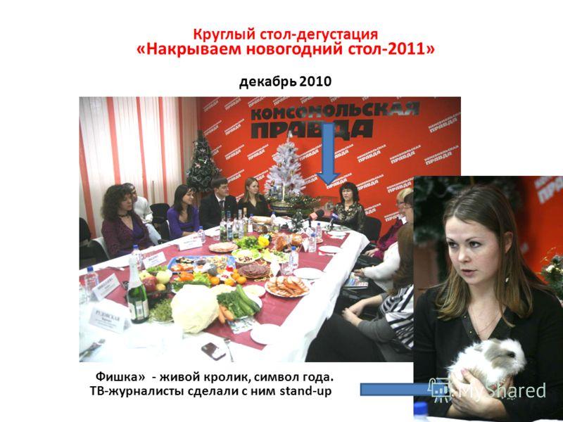 «Фишка» - живой кролик, символ года. ТВ-журналисты сделали с ним stand-up Круглый стол-дегустация «Накрываем новогодний стол-2011» декабрь 2010