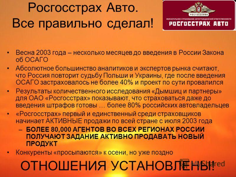 Росгосстрах Авто. Все правильно сделал! Весна 2003 года – несколько месяцев до введения в России Закона об ОСАГО Абсолютное большинство аналитиков и экспертов рынка считают, что Россия повторит судьбу Польши и Украины, где после введения ОСАГО застра