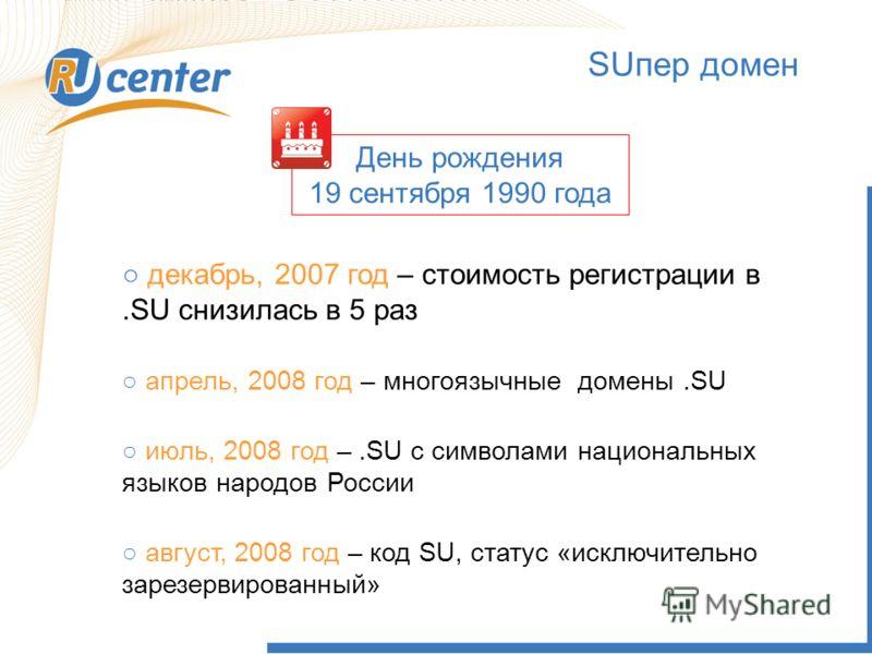 3 SUпер домен декабрь, 2007 год – стоимость регистрации в.SU снизилась в 5 раз апрель, 2008 год – многоязычные домены.SU июль, 2008 год –.SU с символами национальных языков народов России август, 2008 год – код SU, статус «исключительно зарезервирова