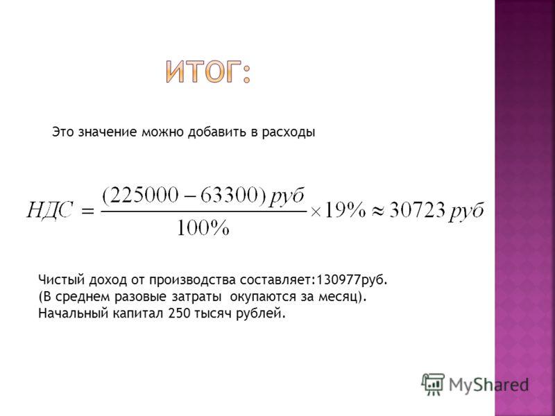 Это значение можно добавить в расходы Чистый доход от производства составляет:130977руб. (В среднем разовые затраты окупаются за месяц). Начальный капитал 250 тысяч рублей.