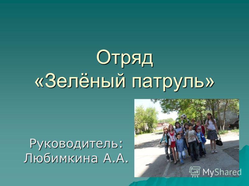 Отряд «Зелёный патруль» Руководитель: Любимкина А.А.