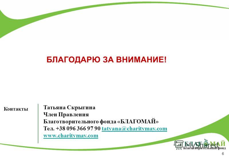 6 БЛАГОДАРЮ ЗА ВНИМАНИЕ! Контакты Татьяна Скрыгина Член Правления Благотворительного фонда «БЛАГОМАЙ» Тел. +38 096 366 97 90 tatyana@сharitymay.comtatyana@сharitymay.com www.сharitymay.com