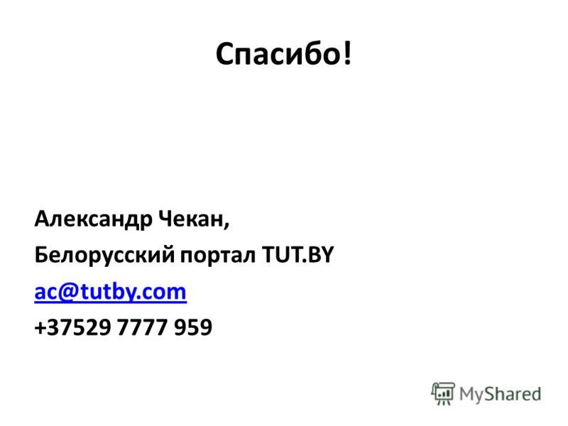 Спасибо! Александр Чекан, Белорусский портал TUT.BY ac@tutby.com +37529 7777 959