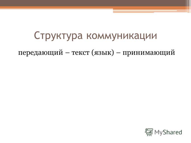 Структура коммуникации передающий – текст (язык) – принимающий