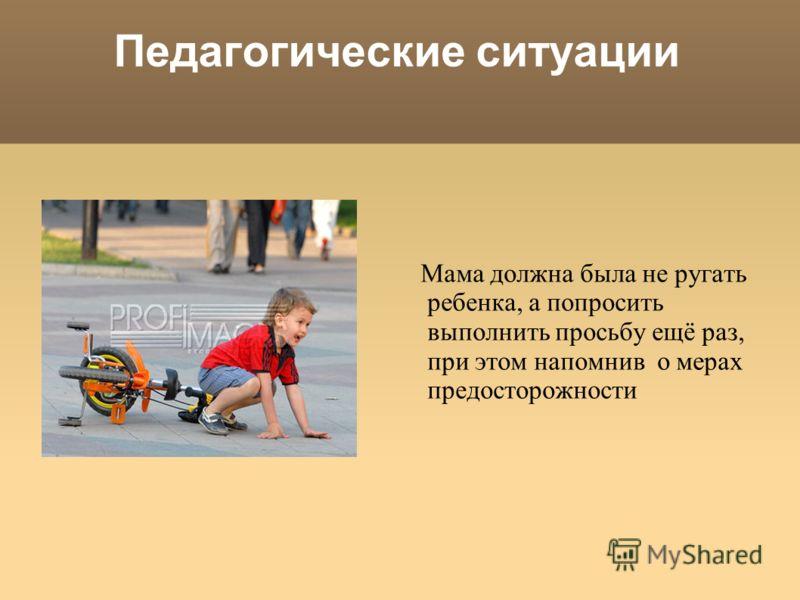 Педагогические ситуации Мама должна была не ругать ребенка, а попросить выполнить просьбу ещё раз, при этом напомнив о мерах предосторожности