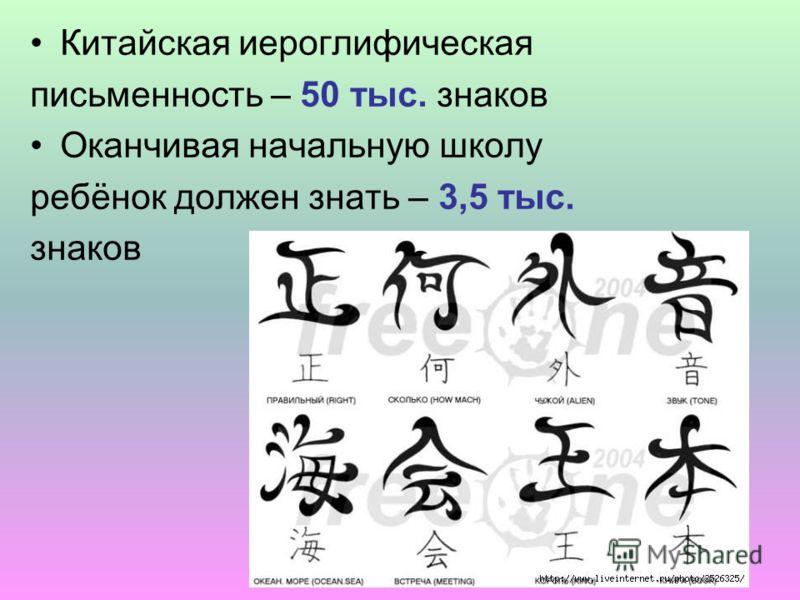 Китайская иероглифическая письменность – 50 тыс. знаков Оканчивая начальную школу ребёнок должен знать – 3,5 тыс. знаков