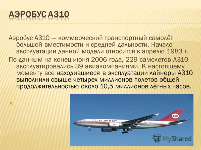 Аэробус А310 коммерческий транспортный самолёт большой вместимости и средней дальности. Начало эксплуатации данной модели относится к апрелю 1983 г. По данным на конец июня 2006 года, 229 самолетов А310 эксплуатировались 39 авиакомпаниями. К настояще