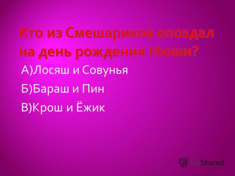 А)Лосяш и Совунья Б)Бараш и Пин В)Крош и Ёжик