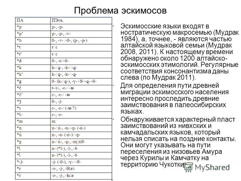 Проблема эскимосов Эскимосские языки входят в ностратическую макросемью (Мудрак 1984), а, точнее, - являются частью алтайской языковой семьи (Мудрак 2008, 2011). К настоящему времени обнаружено около 1200 алтайско- эскимосских этимологий. Регулярные