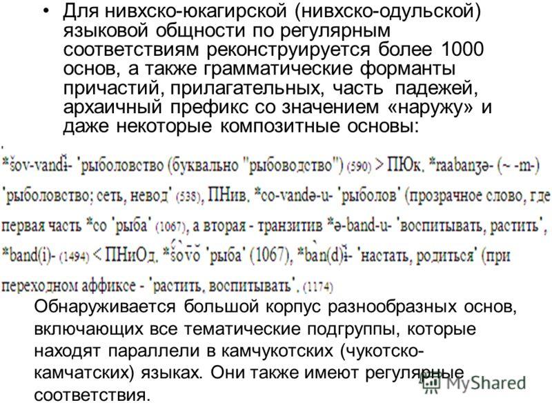 Обнаруживается большой корпус разнообразных основ, включающих все тематические подгруппы, которые находят параллели в камчукотских (чукотско- камчатских) языках. Они также имеют регулярные соответствия. Для нивхско-юкагирской (нивхско-одульской) язык