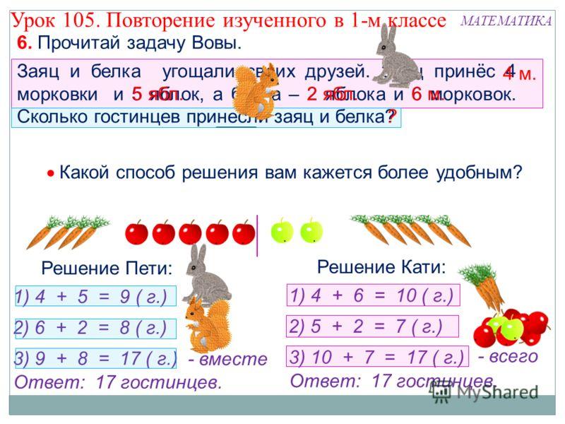 6. Прочитай задачу Вовы. Заяц и белка угощали своих друзей. Заяц принёс 4 морковки и 5 яблок, а белка – 2 яблока и 6 морковок. Сколько гостинцев принесли заяц и белка? 4 м. 5 ябл.6 м.2 ябл. ? Ответ: 17 гостинцев. Решение Пети: 1) 4 + 5 = 9 ( г.) 2) 6