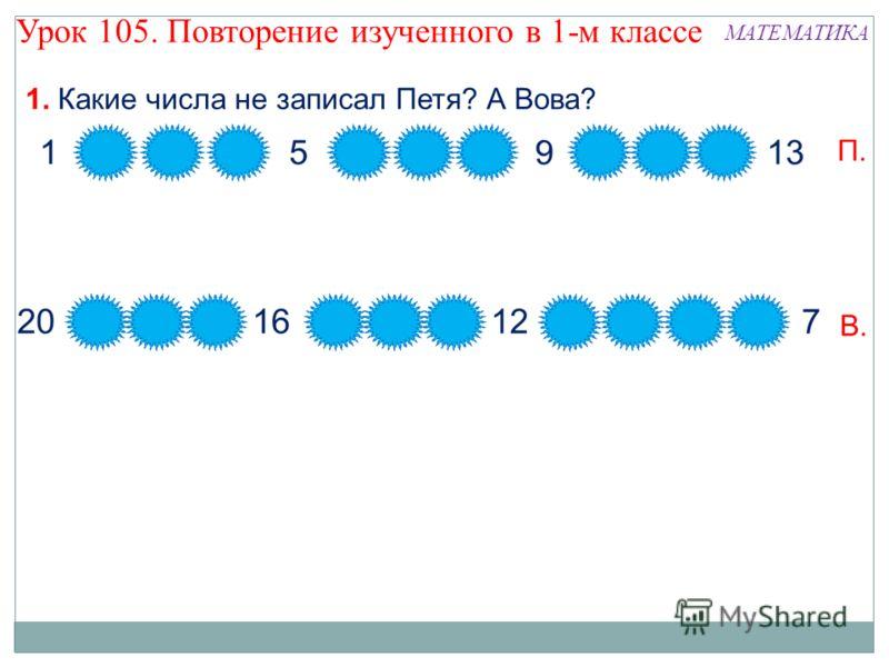 1. Какие числа не записал Петя? А Вова? П. В. Урок 105. Повторение изученного в 1-м классе МАТЕМАТИКА