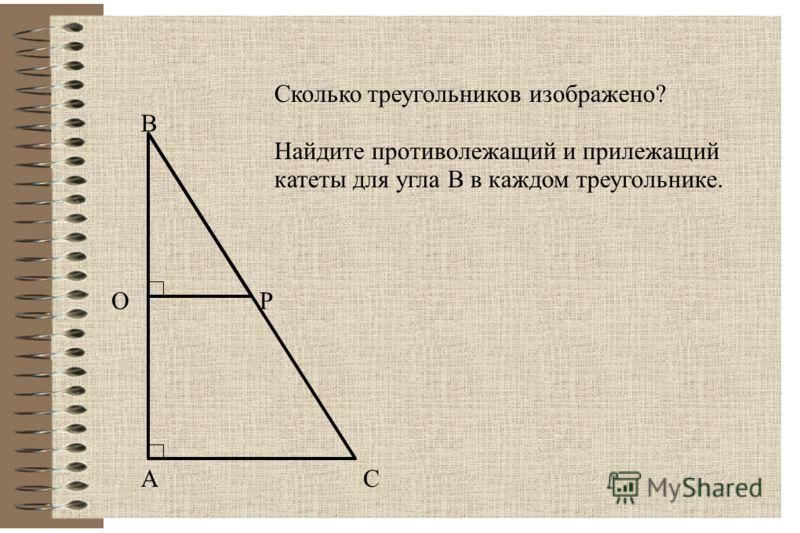 А В С ОР Сколько треугольников изображено? Найдите противолежащий и прилежащий катеты для угла В в каждом треугольнике.