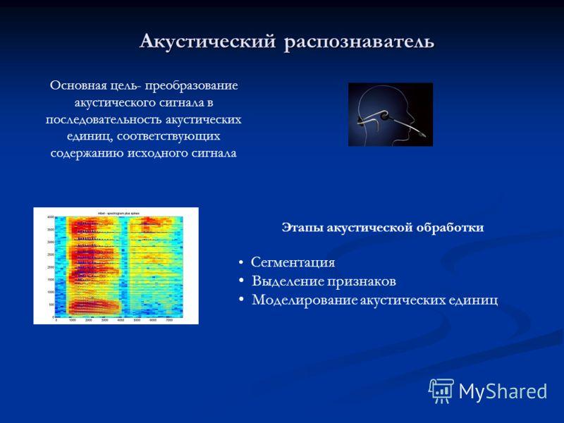 Акустический распознаватель Основная цель- преобразование акустического сигнала в последовательность акустических единиц, соответствующих содержанию исходного сигнала Этапы акустической обработки Сегментация Выделение признаков Моделирование акустиче