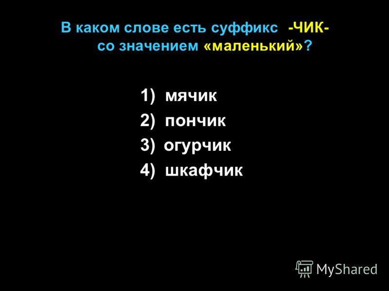 В каком слове есть суффикс -ЧИК- со значением «маленький»? 1) мячик 2) пончик 3) огурчик 4) шкафчик