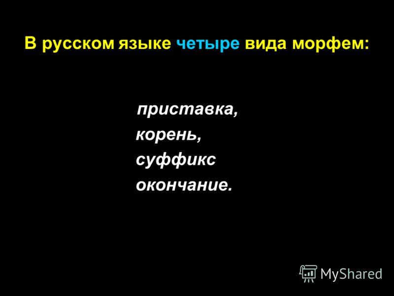 В русском языке четыре вида морфем: приставка, корень, суффикс окончание.